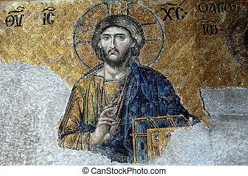 13th century Deesis Mosaic of Jesus Christ (known as Christ...