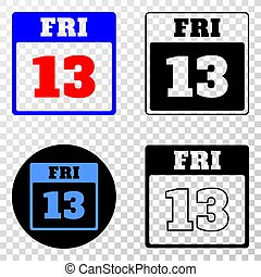 13th Friday Calendar Page Vector EPS Icon with Contour...