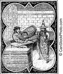 14番目, 図書館, 聖書, century., engraving., tavernier, 国民, 型, 166, 後で