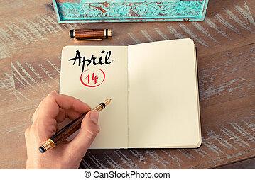 14, abril, cuaderno, calendario, día, manuscrito