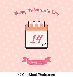 14 date calendar St. Valentine day holiday. - Vector...