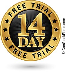 14 day free trial golden label, vector illustration