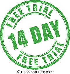14 days free trial rubber stamp