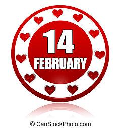 14 février, symboles, cœurs, cercle, bannière, rouges