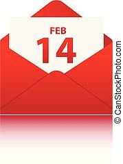 14 FEB in red envelope on white