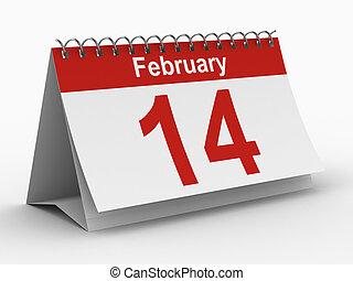 14 febbraio, immagine, isolato, fondo., bianco, calendario, 3d