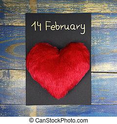 14, február, -, valentine's nap kártya, noha, bolyhos, piros szív