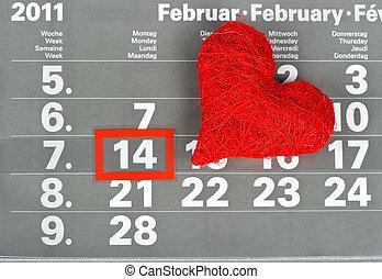 14., february., calendrier, jour, valentine