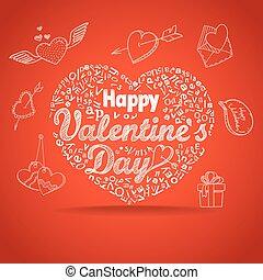 14 february, collection., boldog, valentine nap,...