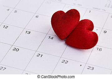 14 february, dátum, és, piros szív