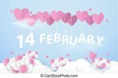 14 February hanging with Pink Heart Balloons in sky. Happy valentines day. Paper art and craft style