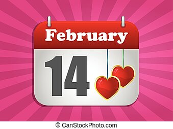 14 february - illustration of calendar page of san valentine