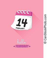 14 february, képben látható, naptár, helyett, kedves,...