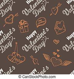 14 february, seamless, pattern., boldog, valentine nap,...