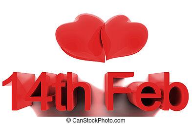 14 february, szt., valentines, day., 3, render, fogalom