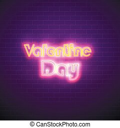 14 February Valentine Day in neon. Banner screen vector illustration - Vector