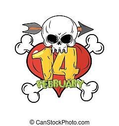 14 February. Valentines day logo for love until death. Head skull symbol of death. Red heart and bones. Template for tattoos.