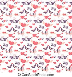14 February Valentine's day seamless pattern