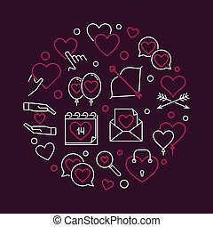 14 February Valentine's Day vector round outline...