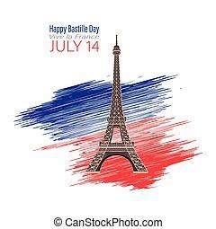 14, heureux, bastille, july., tour, jour, eiffel, day., vecteur, silhouette, viva, illustration., national, noir, france