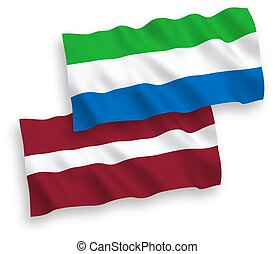 14 - National vector fabric wave flags of Latvia and Sierra ...