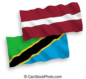 14 - National vector fabric wave flags of Latvia and ...