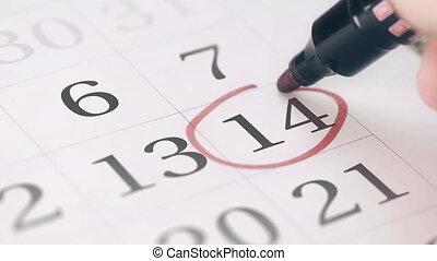 14, quatorzième, rappel, marque, jour, mois