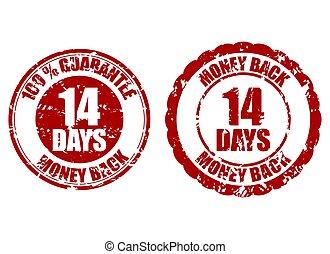 14, selo, dinheiro, costas, dias, borracha, garantia