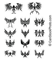 14 Set of eagle wings editable vector