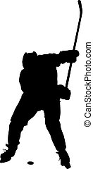 14 - silhouette of hockey player. Isolated on white. Vector ...