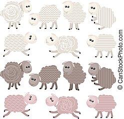 14 stylized sheep isolated on white background