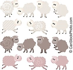 14 stylized sheep isolated on white background