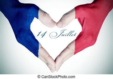 14, texte, national, 14e, francais, juillet, france, jour,...