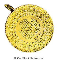 1/4 Turkish Gold coin necklace. Front