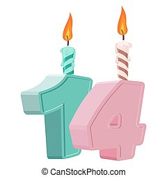 19 Years Birthday Number With Festive Candle For Holiday Cake Nineteen Anniversary