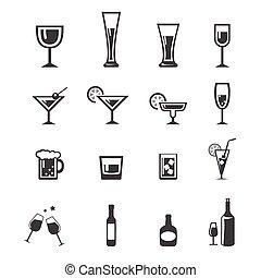 142 Drink alcohol beverage icons set