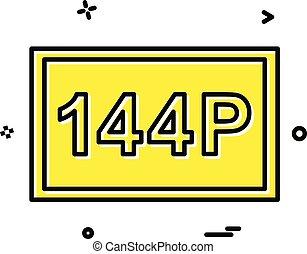 144P video frame icon design vector