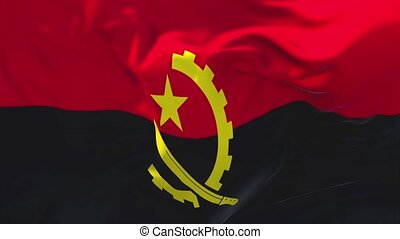 149. Angola Flag Waving in Wind Continuous Seamless Loop Background.