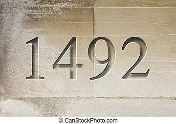1492, bevésett, történelmi, év