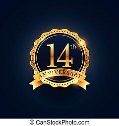 14th anniversary celebration badge label in golden color
