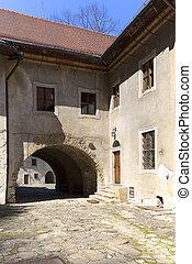 14th century Red Monastery, courtyard, surrounding wall , Slovakia