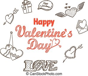 14th February collection. Happy Valentine`s Day elements