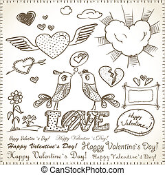 14th February collection. Happy Valentine`s Day elements.