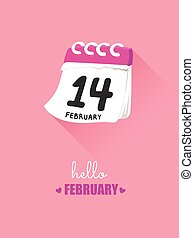 14th february on calendar for valentine concept.