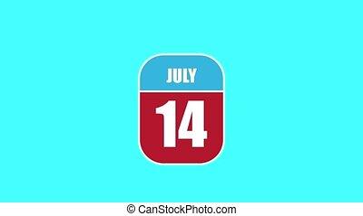 14th., jour été, sien, année, mois, animation., assemblé, 2d, parts., feuille, composant, calendrier, 14 juillet, concept