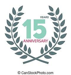 15, 花輪, 記念日, illustratio, ベクトル, テンプレート, 月桂樹, ロゴ