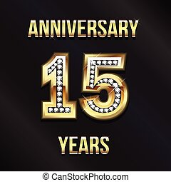 15, años, aniversario, logotipo