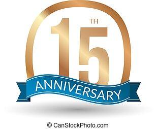 15, anni, anniversario, esperienza, oro, etichetta, vettore, illustrazione