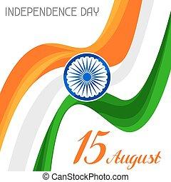 15, augusztus, india, köszönés, th, ünneplés, nap, szabadság, card.