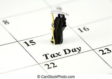15, avril, reaper, day), calendrier, (tax, sinistre, concept...